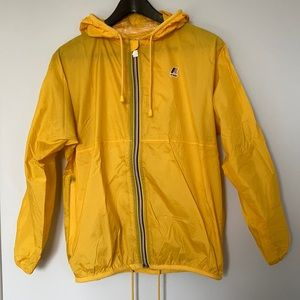 Yellow K-WAY packable unisex rain and wind jacket